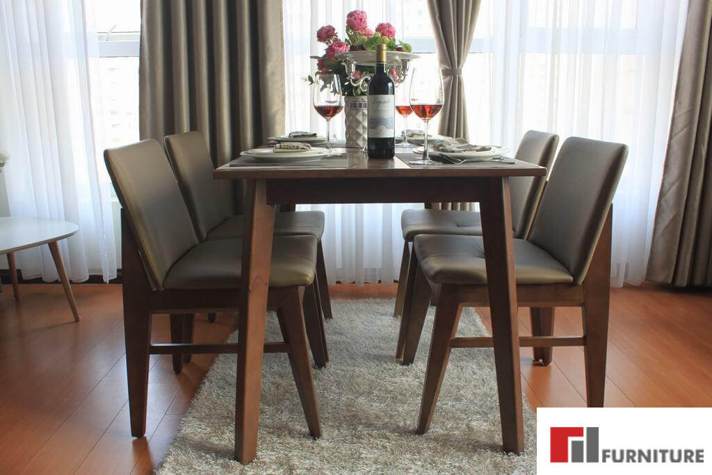 Bộ bàn ăn gỗ mặt đá Kudo