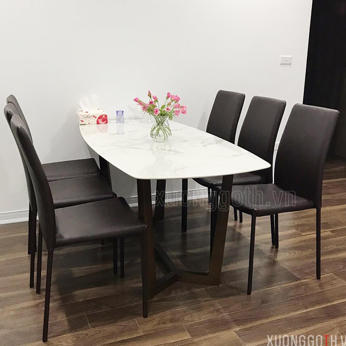 Bộ bàn ăn gỗ mặt đá Concorde + ghế Linda