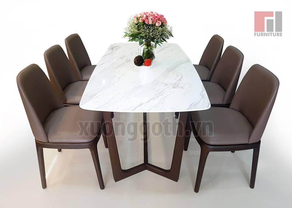 Bộ bàn ghế ăn Concorde gỗ sồi mặt đá
