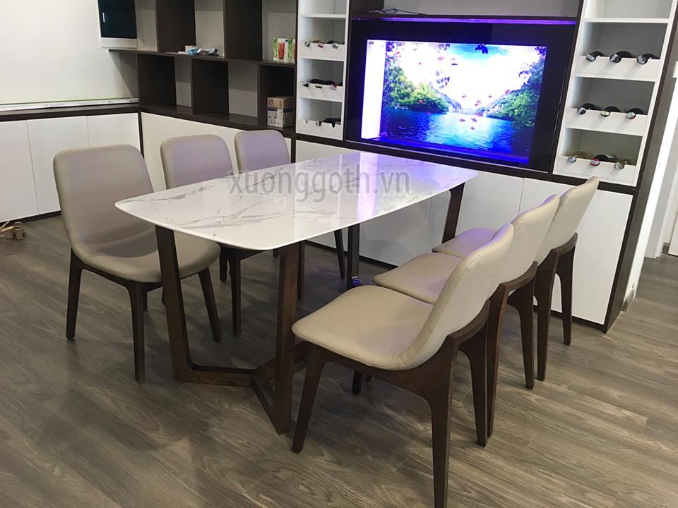 Bộ bàn ăn có thể kết hợp mặt đá hiện đại