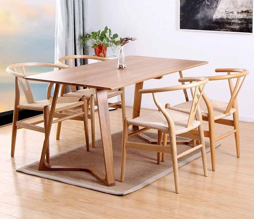 Bộ bàn ăn Twist kết hợp ghế WishBone đan dây