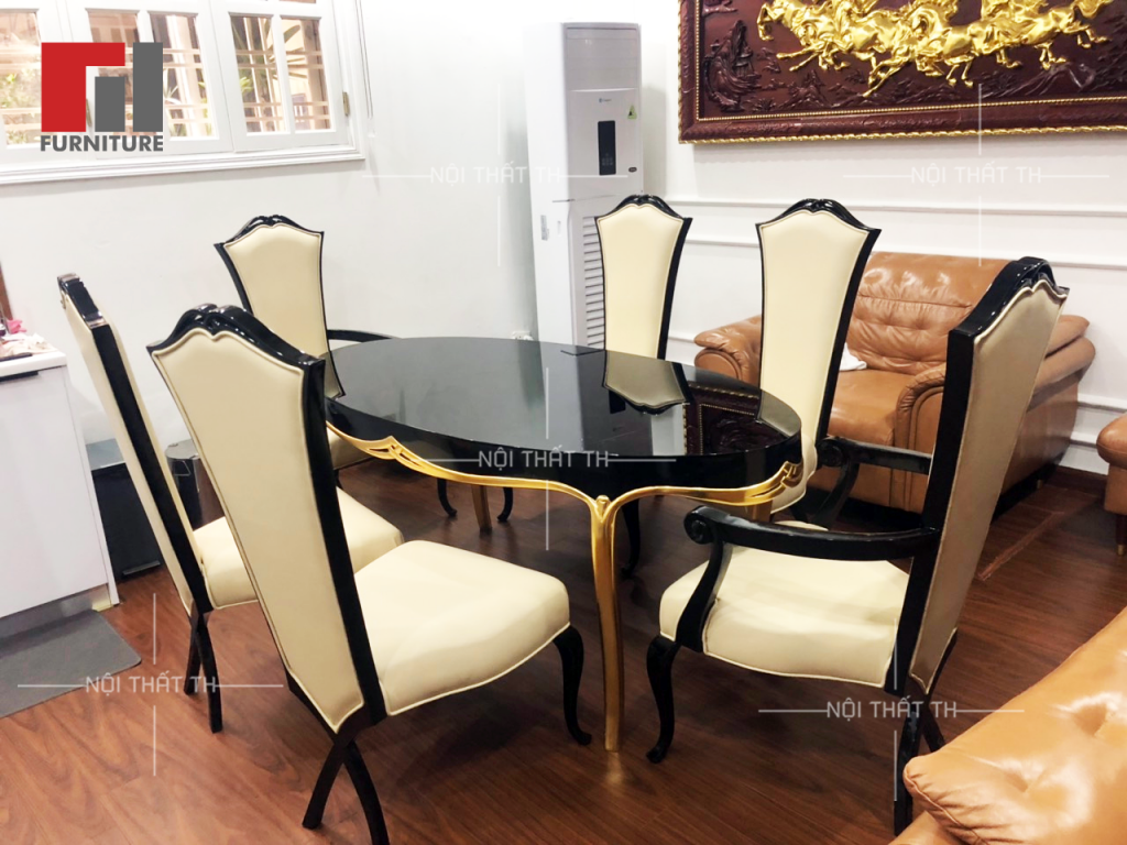 Thiết kế bàn ăn mặt gỗ sơn inchem cao cấp, chân inox mạ titan vàng với ghế H6 mang phong cách tân cổ đẹp mê ly