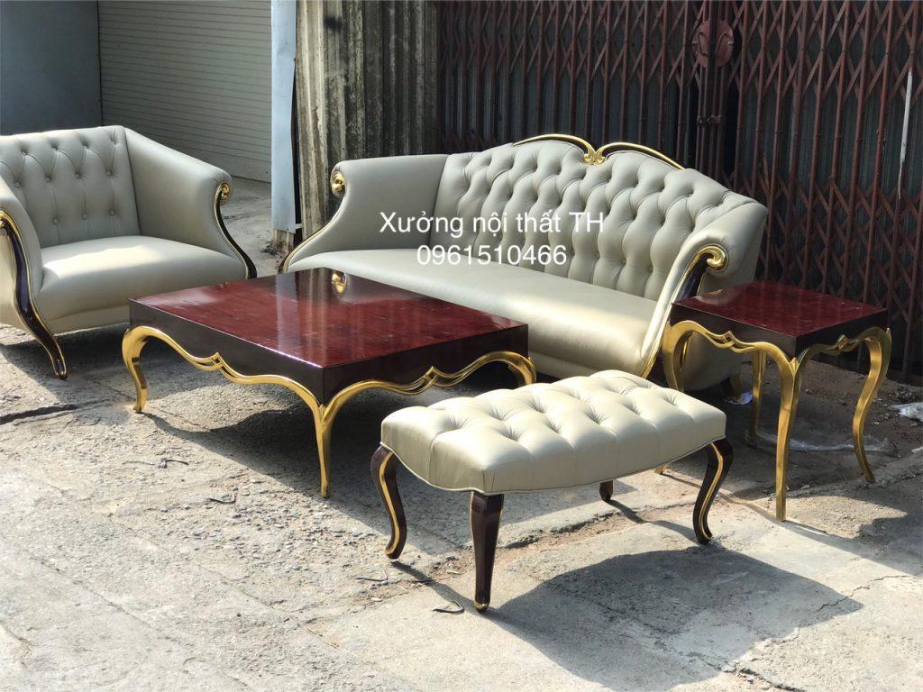 Sofa tân cổ bọc da thật 100% đẹp mê hồn tại Xưởng Nội Thất TH