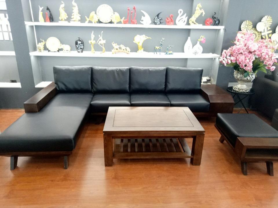 Sofa gỗ sồi tự nhiên bọc da Hàn đem đến một không gian sang trọng và đẳng cấp cho phòng khách