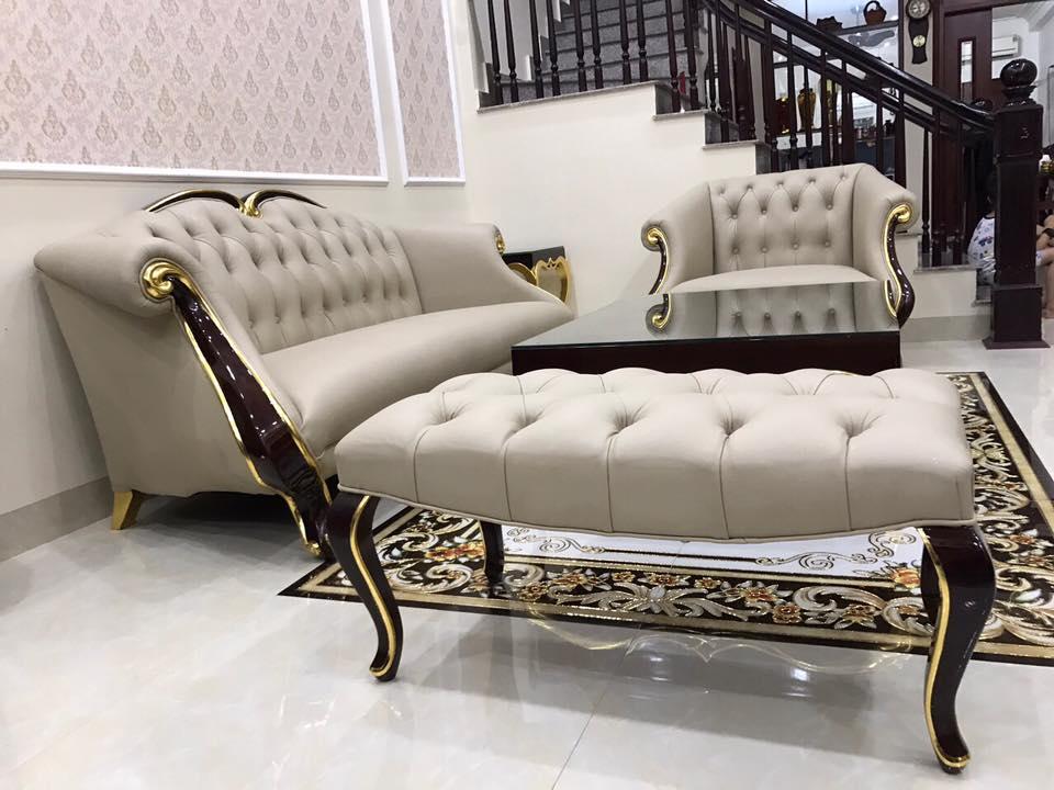 sofa bọc da thật