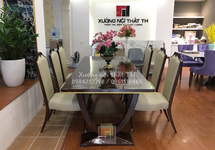 Bàn ghế ăn phong cách tân cổ điển luôn là lựa chọn số 1 cho biệt thự cao cấp
