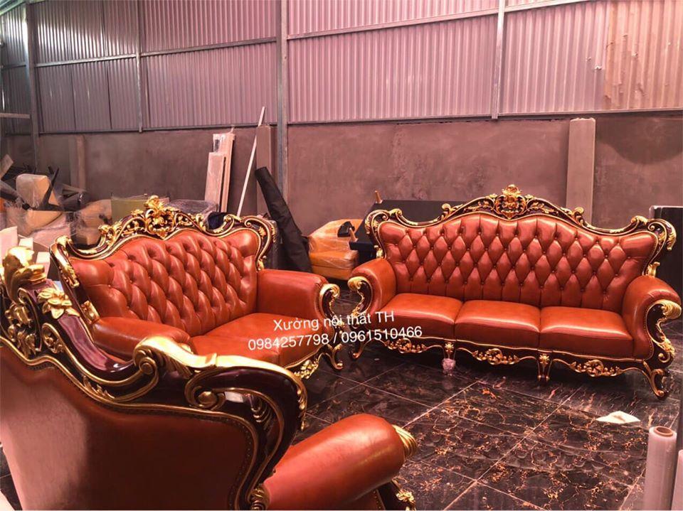 Bộ ghế sofa tân cổ điển sang trọng, đẳng cấp dành cho biệt thự cao cấp
