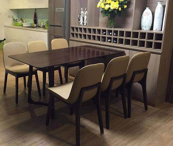 Bộ bàn ăn mặt gỗ 6 ghế đẹp, hiện đại