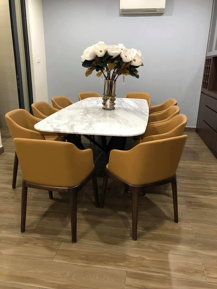 Bộ bàn ăn chân sắt sơn tĩnh điện mặt đá 10 ghế hiện đại giúp không gian phòng ăn nổi bật hơn