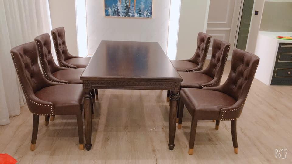 Bộ bàn ghế ăn gỗ tân cổ điển sang trọng