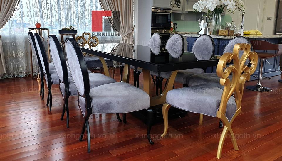 Bộ bàn ăn 10 ghế CG lưng Oval cho biệt thự ở Hoàng Văn Thái
