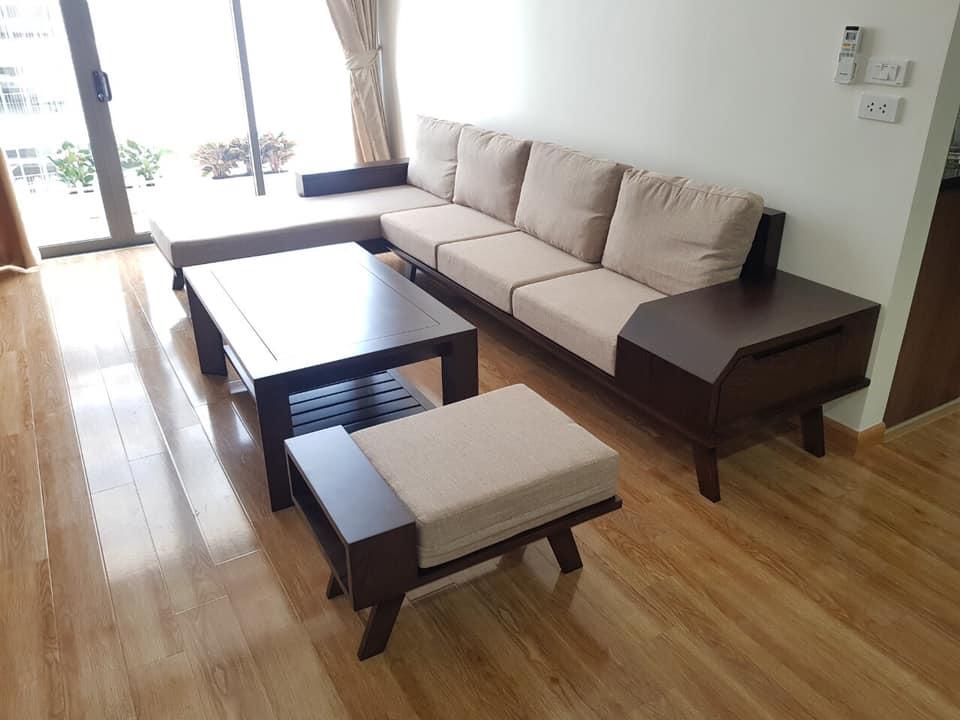 Bộ sofa gỗ sồi tư nhiên bọc nỉ