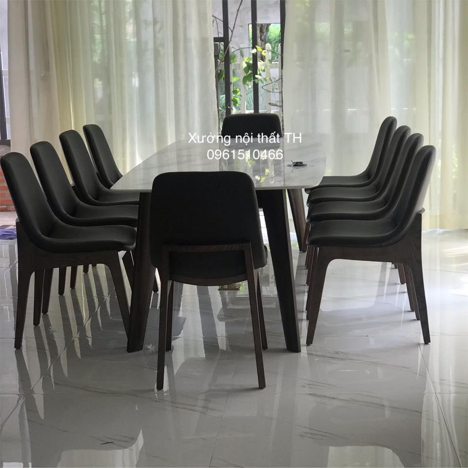 Bộ bàn ăn Howard mặt đá 10 ghế phong cách hiên đại cho không gian rộng