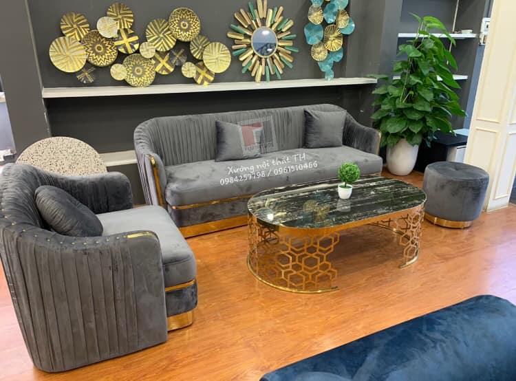 Bộ ghế sofa viền bọc inox sang trọng, hiện đại