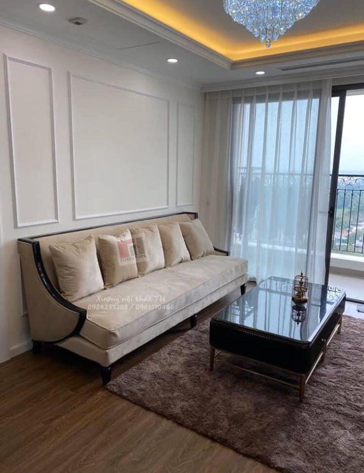 Chân sofa văng cũng được cách điệu tạo điểm nhấn