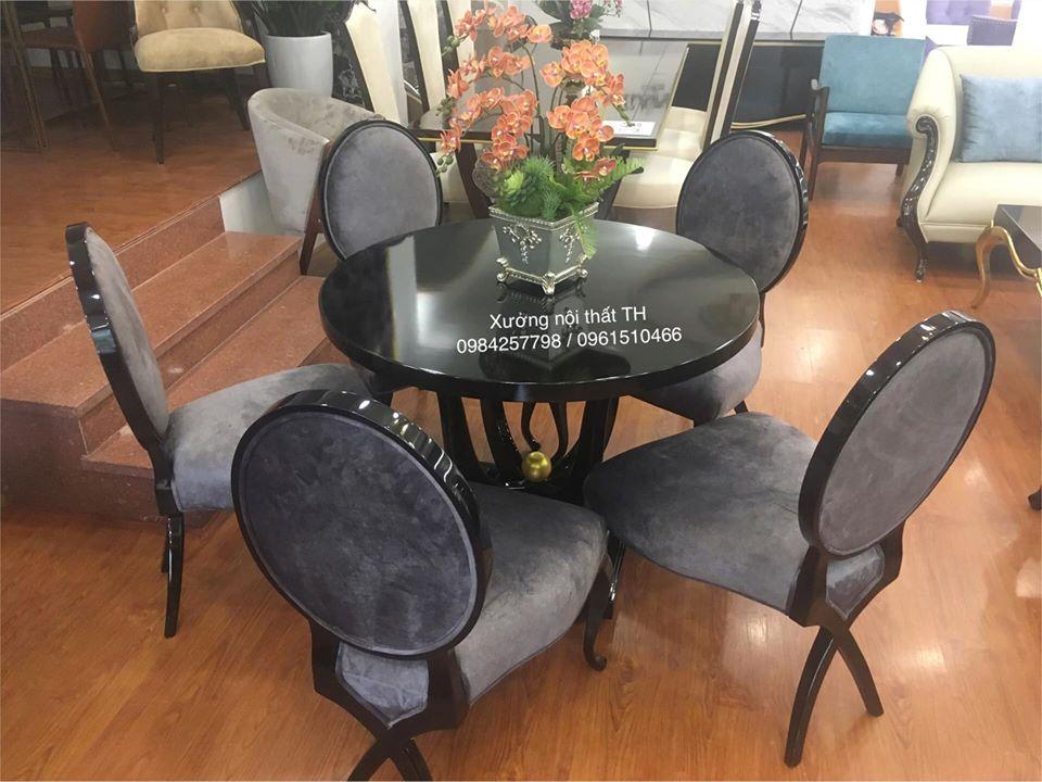 Bộ bàn ghế ăn tân cổ điển gỗ sồi tự nhiên kết hợp mặt veneer cốt chống ẩm