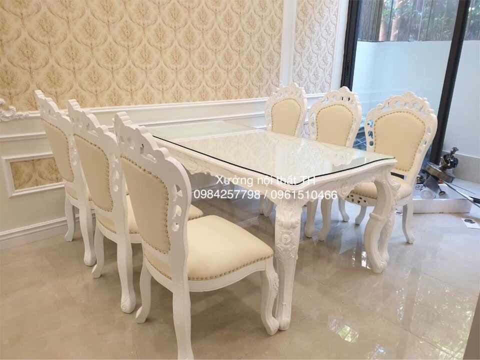 Bộ bàn ăn tân cổ điển 6 ghế sơn trắng trẻ trung, đặc biệt với họa tiết hoa văn tinh tế, sắc nét