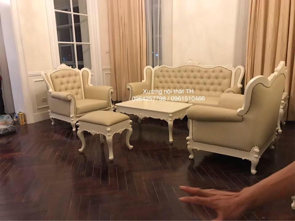 Bộ ghế sofa phòng khách tân cổ điển bọc giả da cao cấp sang trọng