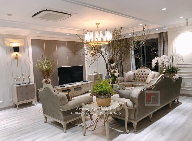 Bộ sofa tân cổ điển cao cấp tại biệt thự xa hoa lộng lẫy
