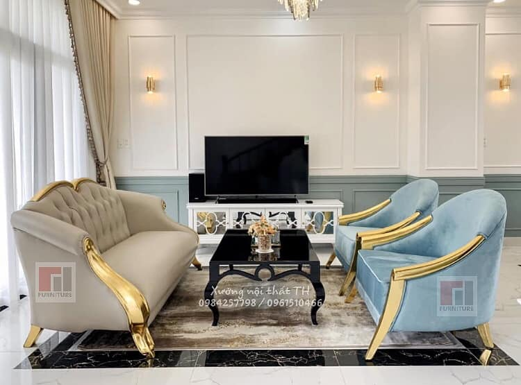 Bộ sofa CG toát lên vẻ đẹp hào nhoáng khi đặt trong không gian không cần quá rộng