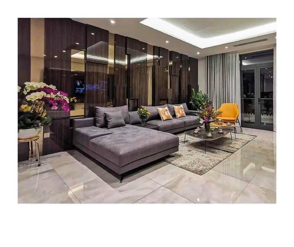 Sofa góc đẹp cho không gian phòng khách ngôi biệt thự rộng lớn