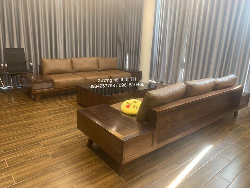 Bộ sofa gỗ óc chó bọc da thật sắc nét và tinh tế qua từng đường nét