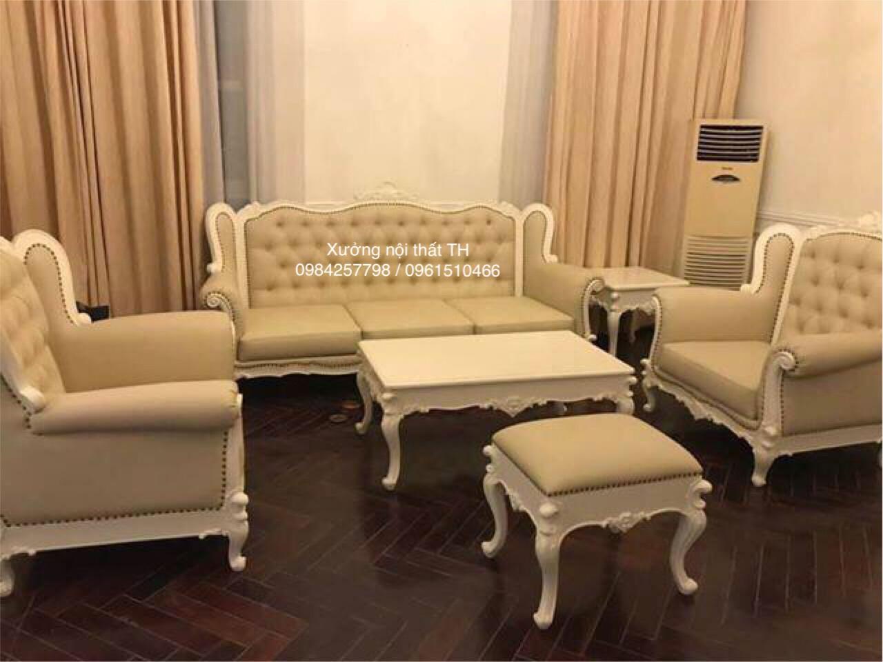 Bộ sofa tân cổ điển gỗ tự nhiên tạo không gian hoành tráng, bề thế