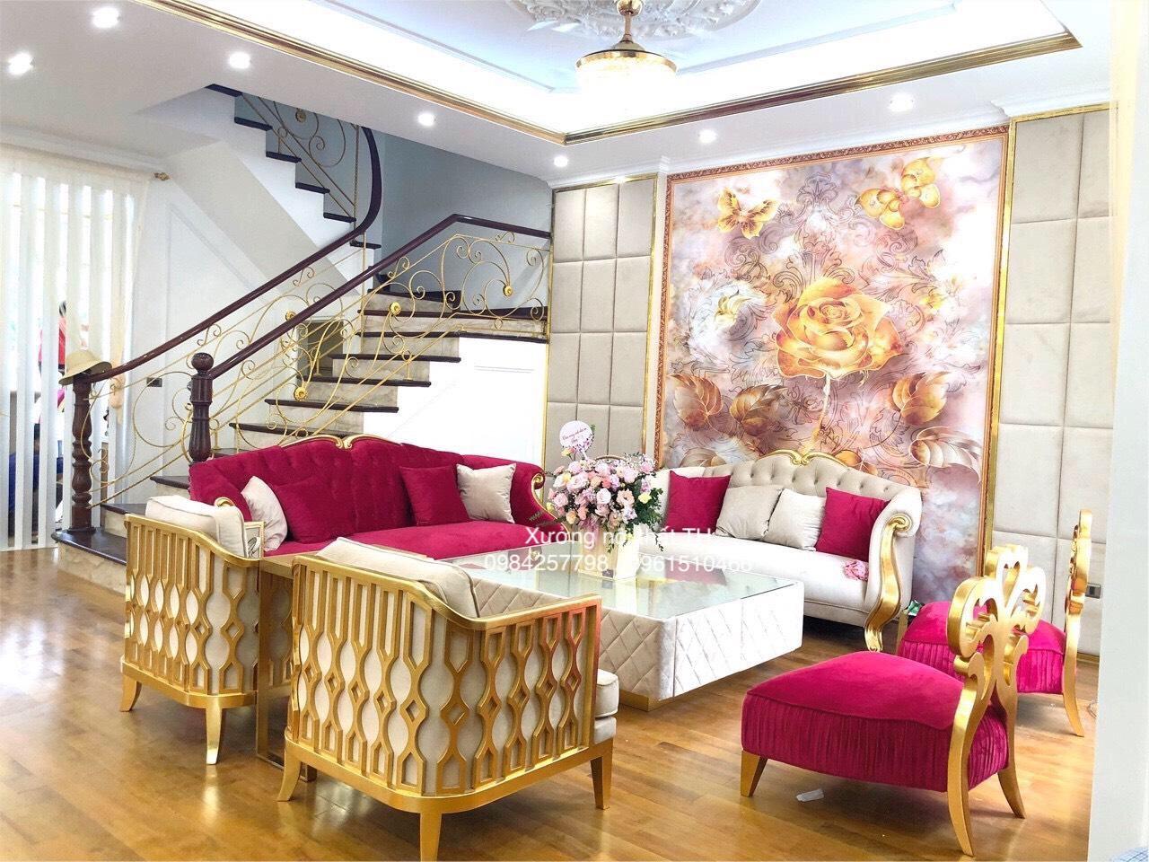 Bộ sofa CG tân cổ điển xa hoa , hoành tráng khi đặt vào biệt thự lộng lẫy