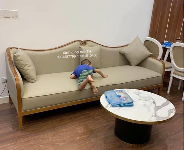 Sofa văng gỗ sồi tự nhiên với đường nét chau chuốt, tinh tế phù hợp mọi không gian