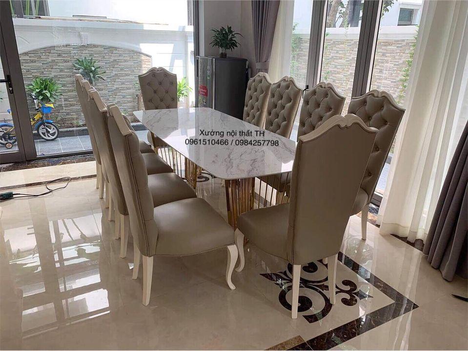 Bộ bàn ăn 10 ghế tân cổ điển đẳng cấp cho căn biệt thự rộng lớn nguy nga