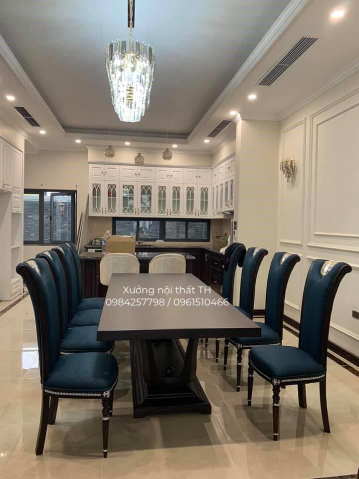 Bộ bàn ăn 8 ghế tân cổ điển mới mẻ, táo bạo và cá tính tạo không gian đẳng cấp riêng