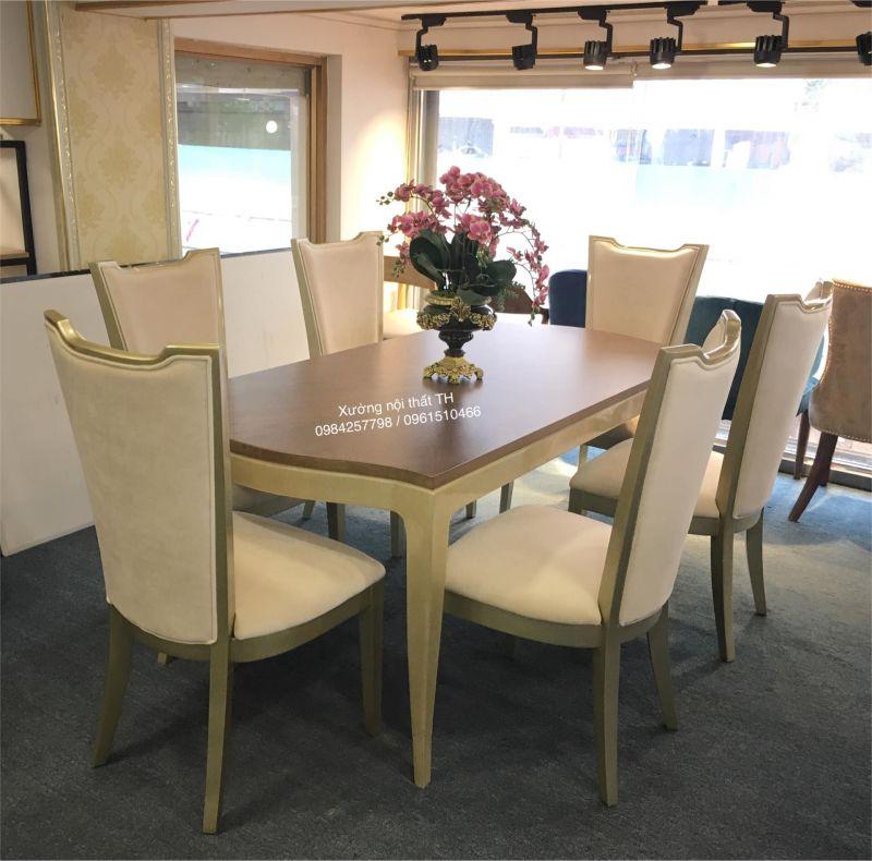 Bộ bàn ghế ăn Caracole cho không gian nội thất tân cổ điển thanh lịch