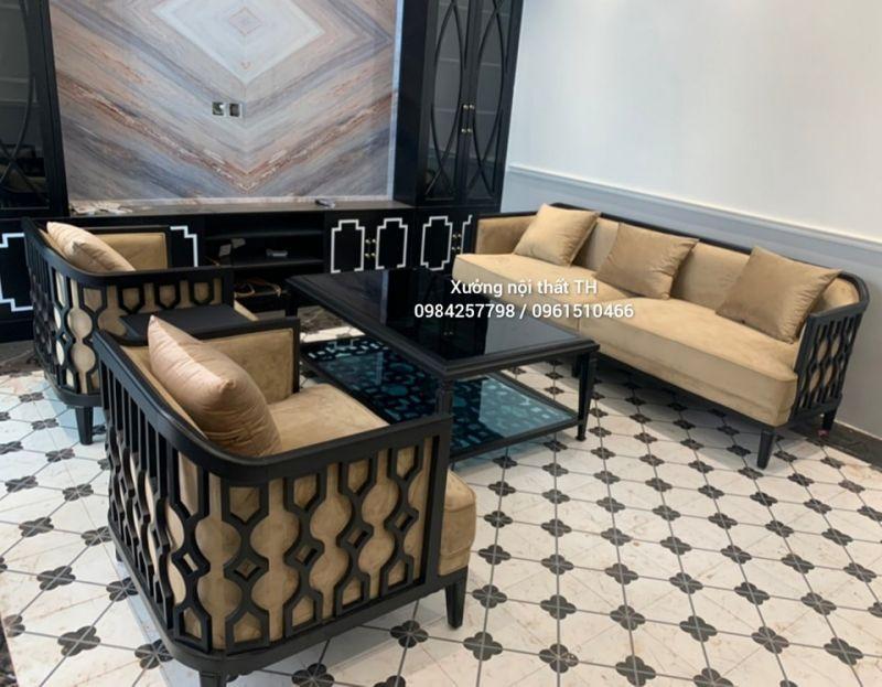 Bộ sofa phòng khách phong cách Caracole điểm nhấn là các họa tiết đơn giản nhưng khách biệt - độc - lạ