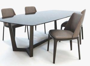 Bộ bàn ghế ăn gỗ Sồi 6 ghế 1m6 phun màu mẫu Oval