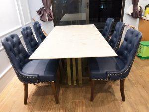 Bộ bàn ăn 6 ghế Charles bọc nệm – sự hoàn hảo đến từng đường nét