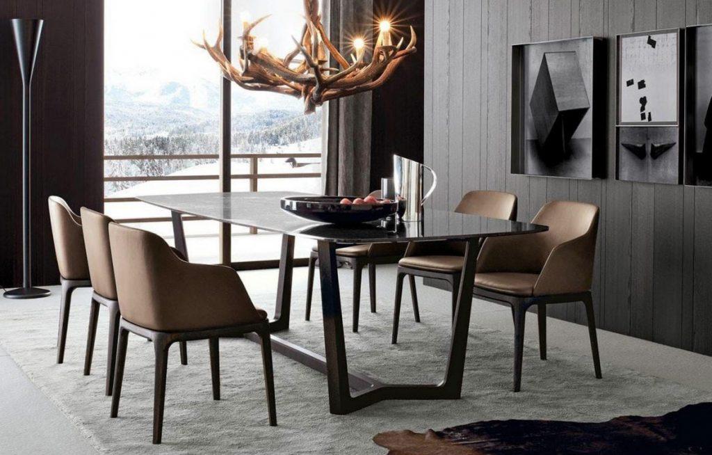 Bộ bàn ăn mặt đá trắng kết hợp với ghế grace có tay vịn đem lại không gian sang trọng cho căn phòng