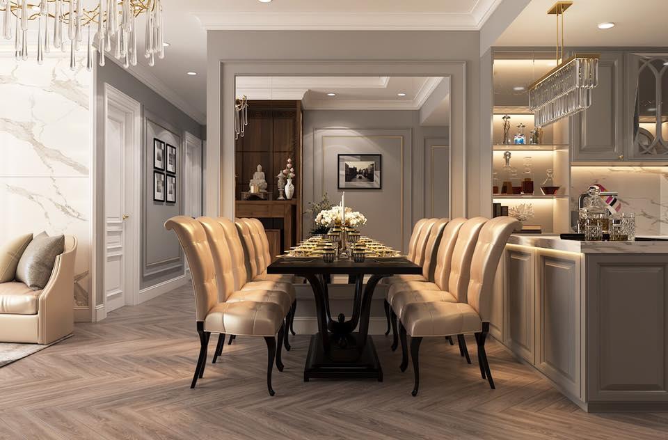 Bộ bàn ghế ăn phong cách tân cổ điển tinh tế