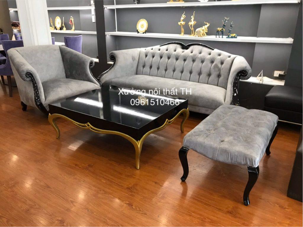 Bộ sofa tân cổ bọc nỉ nhung càng tăng thêm vẻ đẹp của chúng