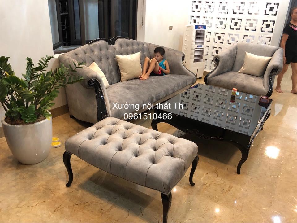 Bộ sofa tân cổ điển bọc nỉ đẹp mê ly