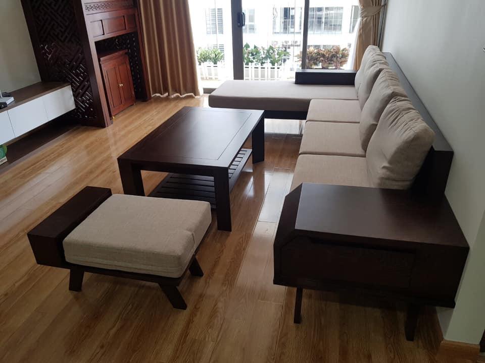 sofa gỗ đệm bọc nỉ mềm mại