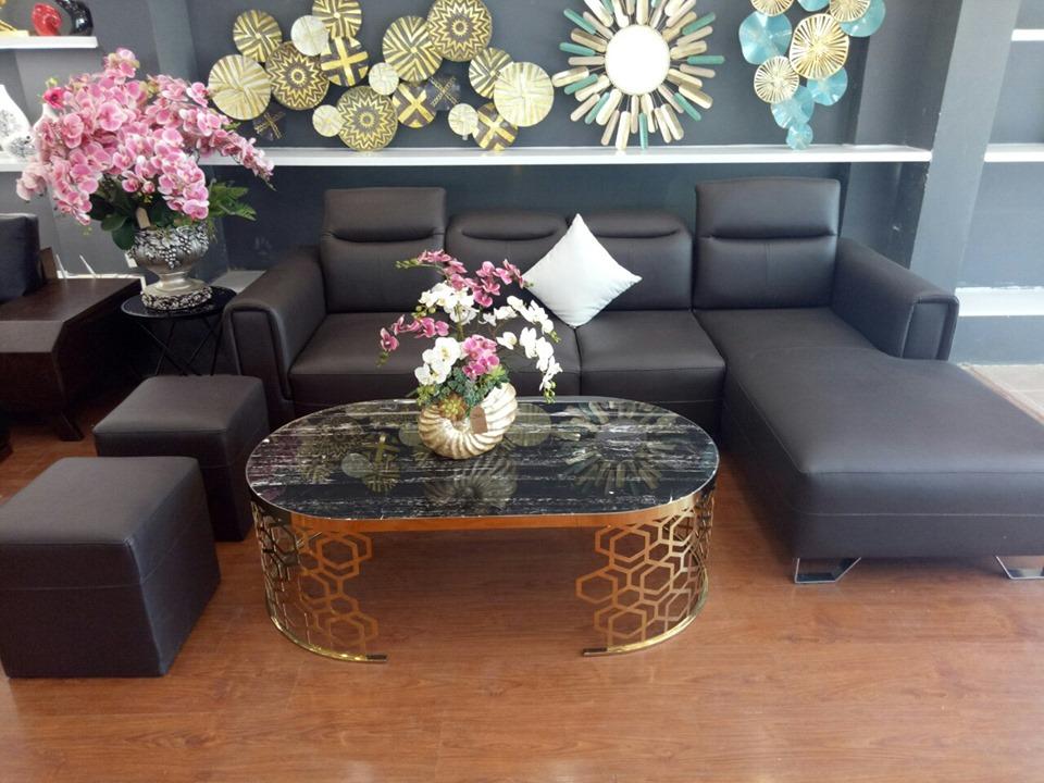 Bộ ghế sofa đẹp gậ gù chữ L bọc da hiện đại