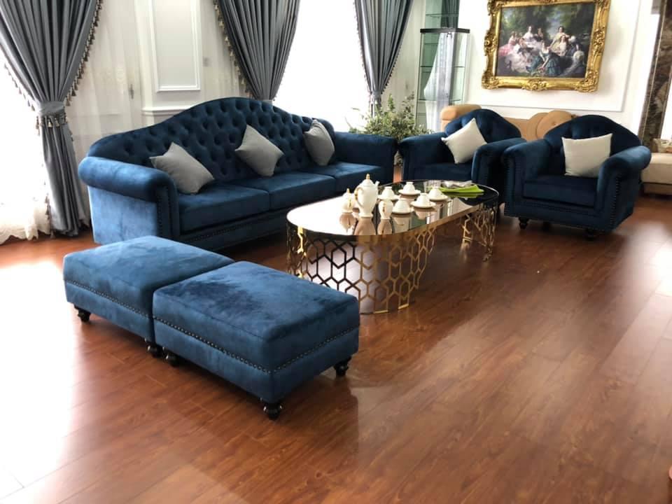 Bộ sofa tân cố điển đơn giản nhẹ nhàng bọc nỉ nhung vân độc đáo
