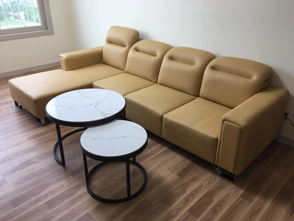 Bộ sofa gật gù hiện đại màu vàng kem